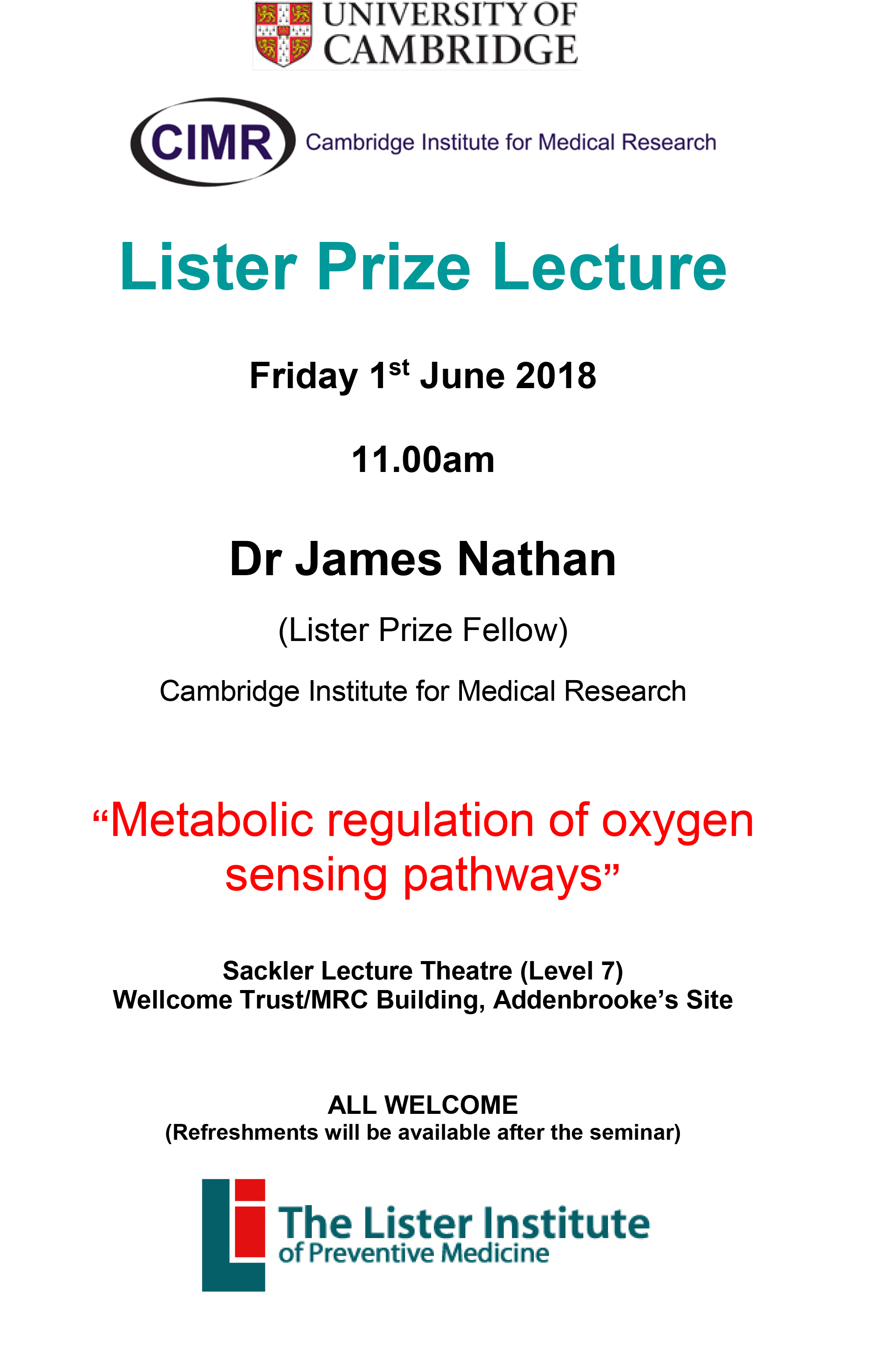 Lister Prize Lecture Poster