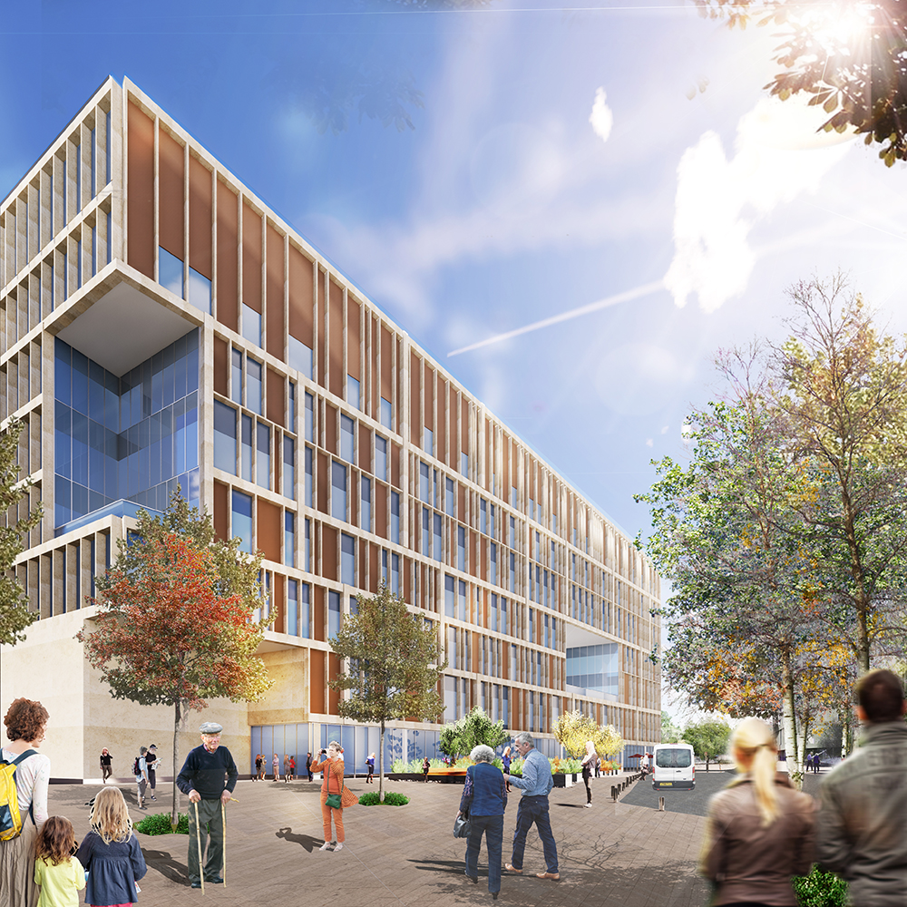 Artist's impression of the Cambridge Cancer Research Hospital entrance