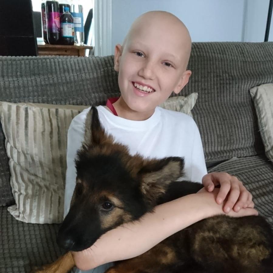 Lucas Newton during his cancer treatment