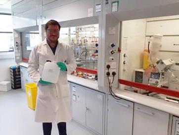 Matt Calder with hand sanitiser