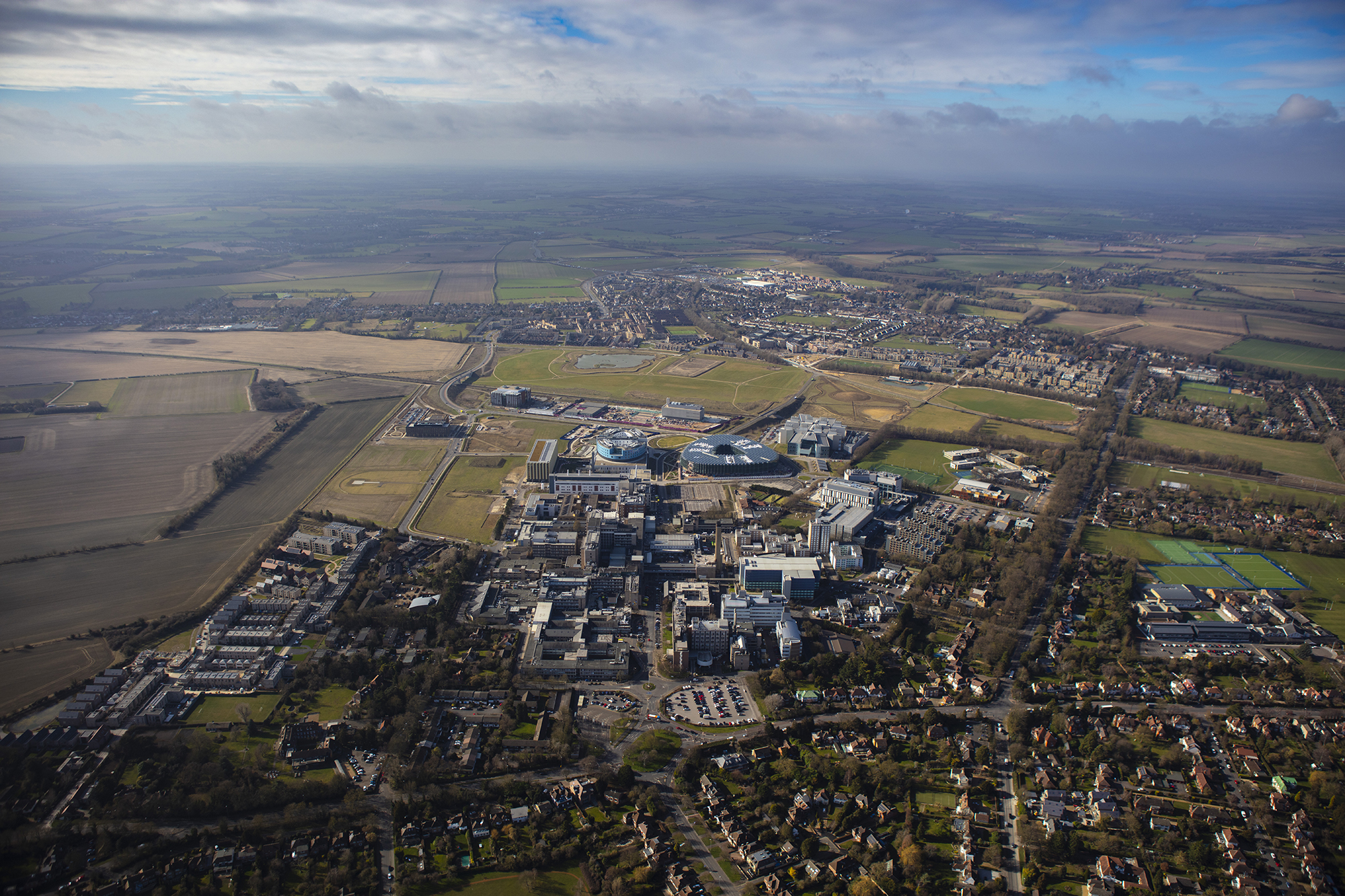 Aerial photo of the Cambridge Biomedical Campus