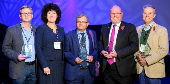 Mathew Garnet (left) won the Innovation Award, Ramesh Bulusu (centre) won the Collaboration Award and Paul Pharoah (right) won the Impact Award.