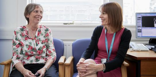 Patient Hilary Stobart (left) with Professor Charlotte Coles, CRUK RadNet Cambridge lead.