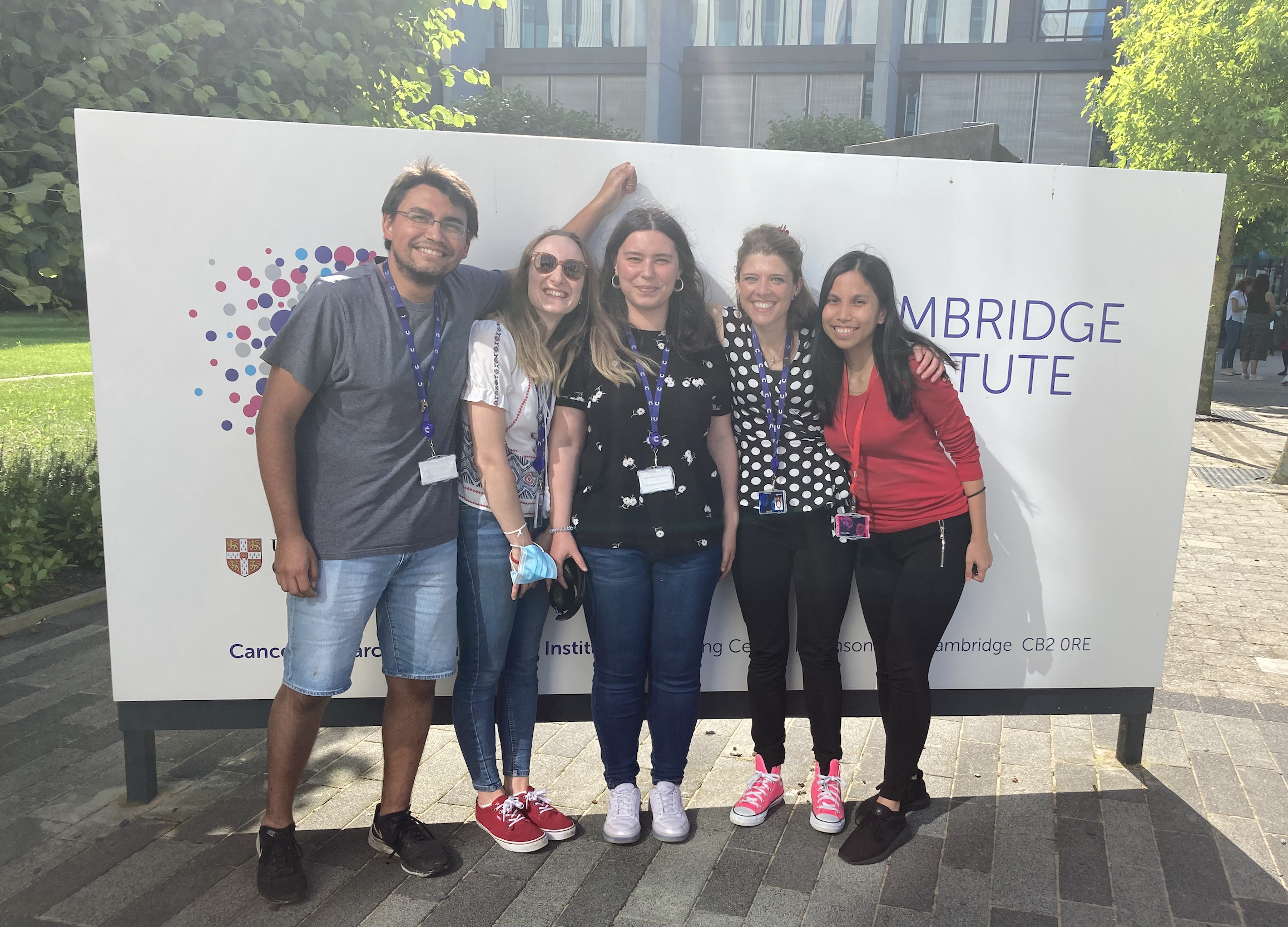 Dr Giulia Biffi (second from right) with her team outside the CRUK Cambridge Institute